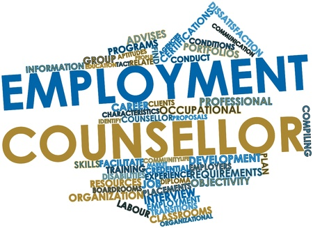 credential: Abstract word cloud for Employment counsellor with related tags and terms