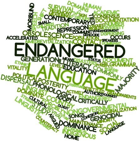 Abstract word cloud for Endangered language with related tags and terms photo