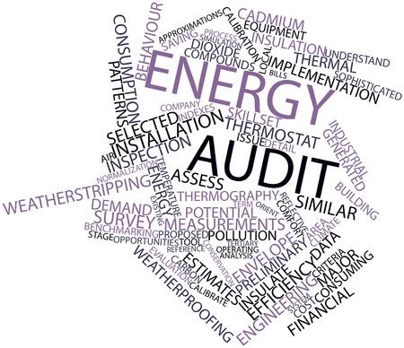 auditoría: Nube palabra abstracta para auditoría energética con las etiquetas y términos relacionados Foto de archivo