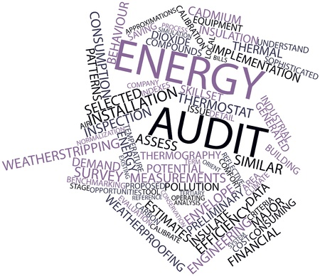 Abstract word cloud for Energy audit with related tags and terms