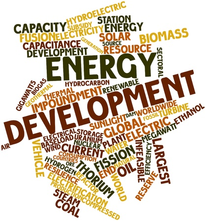 infeasible: Abstract word cloud for Energy development with related tags and terms Stock Photo