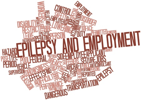 discriminate: Abstract word cloud for Epilepsy and employment with related tags and terms Stock Photo