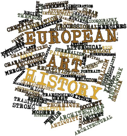 postmodern: Abstract word cloud for European art history with related tags and terms