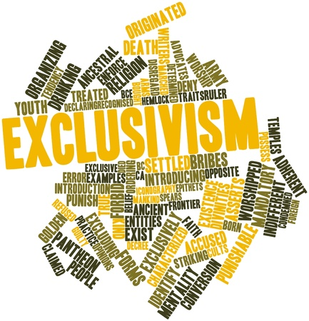 worshipped: Abstract word cloud for Exclusivism with related tags and terms Stock Photo