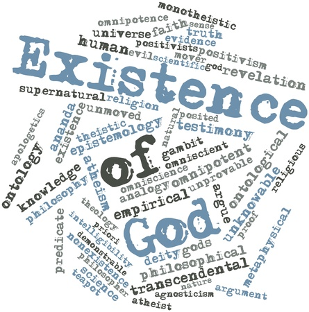 posited: Abstract word cloud for Existence of God with related tags and terms Stock Photo