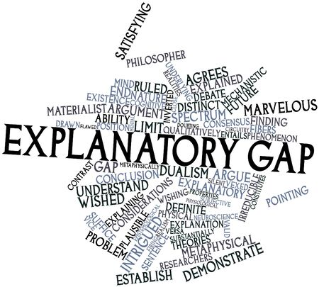 explanatory: Abstract word cloud for Explanatory gap with related tags and terms Stock Photo