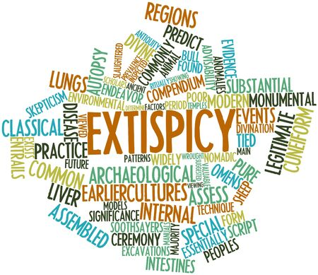 cuneiform: Abstract word cloud for Extispicy with related tags and terms Stock Photo