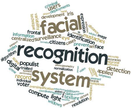 reconocimiento: Nube palabra abstracta para el sistema de reconocimiento facial con etiquetas y términos relacionados