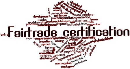 incur: Abstract word cloud for Fairtrade certification with related tags and terms Stock Photo