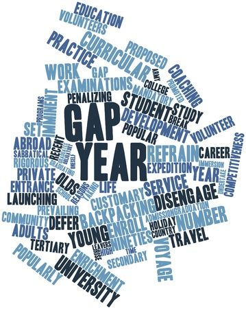 keywords adult: Abstract word cloud for Gap year with related tags and terms