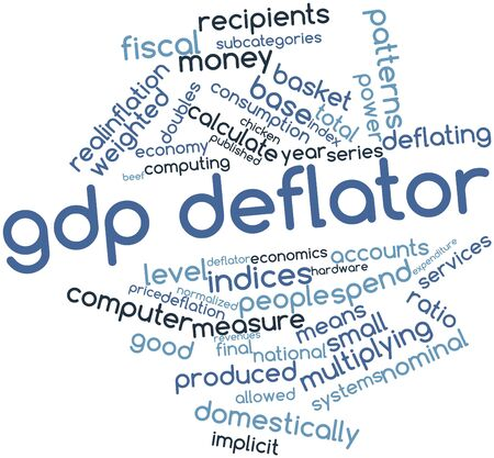 multiplying: Abstract word cloud for GDP deflator with related tags and terms Stock Photo