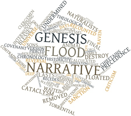 Abstract word cloud for Genesis flood narrative with related tags and terms
