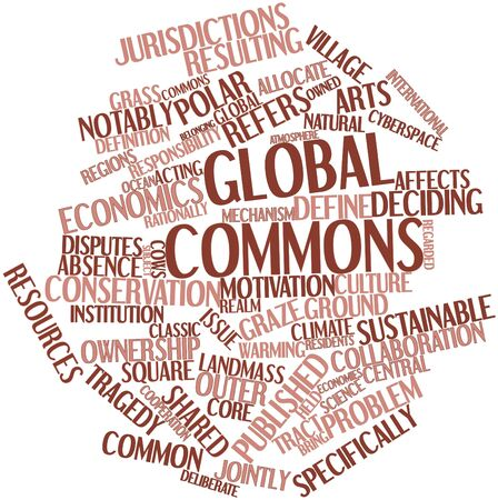 owned: Abstract word cloud for Global commons with related tags and terms Stock Photo
