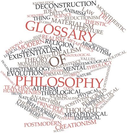 positivism: Word cloud astratto per Glossario della filosofia con tag correlati e termini Archivio Fotografico