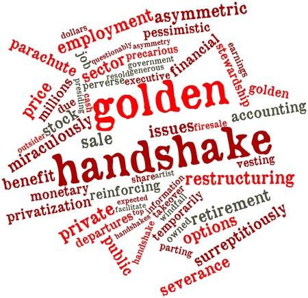 rewarded: Nube palabra abstracta para apret�n de manos de oro con las etiquetas y t�rminos relacionados Foto de archivo