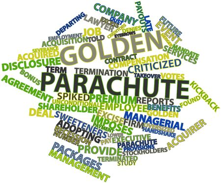 adopting: Abstract word cloud for Golden parachute with related tags and terms