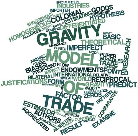 tratados: Nube palabra abstracta para el modelo de gravedad del comercio con las etiquetas y t�rminos relacionados Foto de archivo