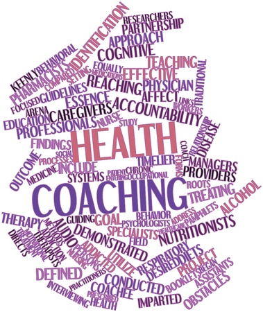 Abstract word cloud for Health coaching with related tags and terms