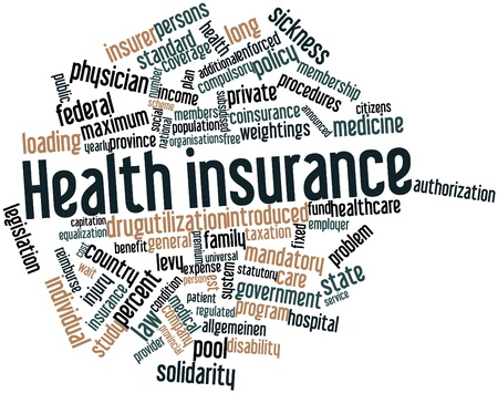 Abstract word cloud for Health insurance with related tags and terms
