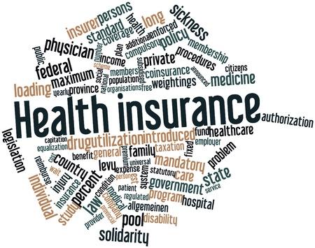 salud publica: Nube palabra abstracta para el seguro de salud con las etiquetas y t�rminos relacionados