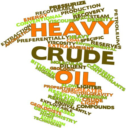 spacing: Abstract word cloud for Heavy crude oil with related tags and terms
