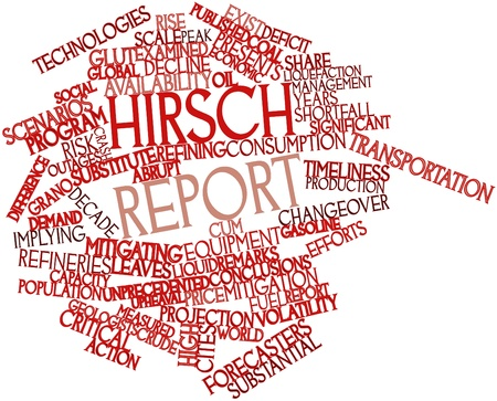 mitigating: Abstract word cloud for Hirsch report with related tags and terms Stock Photo