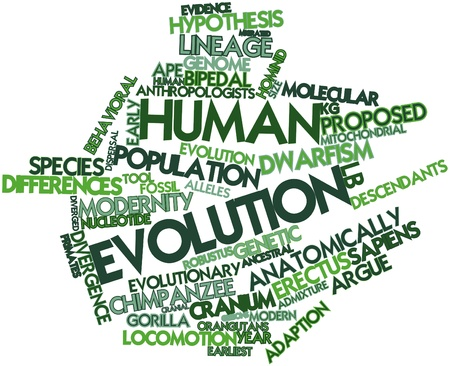 divergence: Abstract word cloud for Human evolution with related tags and terms