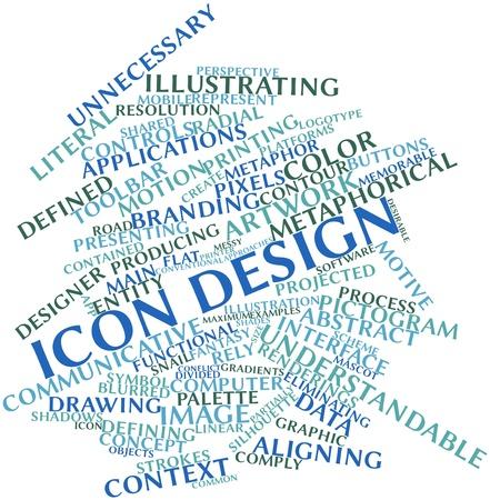 Abstract woordwolk voor Icon design met gerelateerde tags en voorwaarden Stockfoto