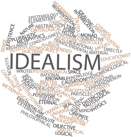 epistemology: Abstract word cloud for Idealism with related tags and terms Stock Photo