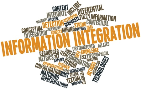 consolidation: Abstract word cloud for Information integration with related tags and terms Stock Photo