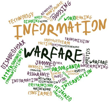 disinformation: Abstract word cloud for Information warfare with related tags and terms