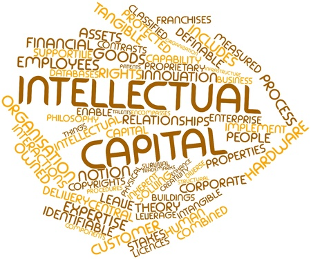 identifiable: Abstract word cloud for Intellectual capital with related tags and terms Stock Photo