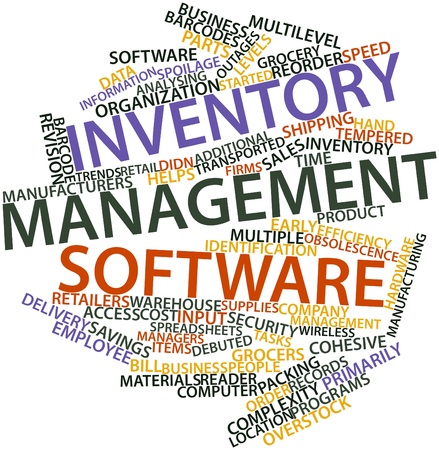 Abstract word cloud for Inventory management software with related tags and terms photo
