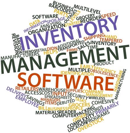 Abstraktes Wort-Wolke für Inventar-Management-Software mit entsprechenden Tags und Begriffe