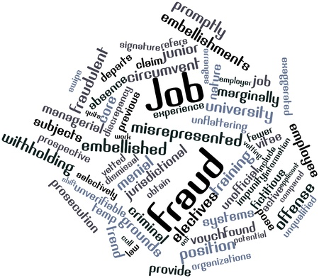 Abstract word cloud for Job fraud with related tags and terms Stock Photo - 17319557
