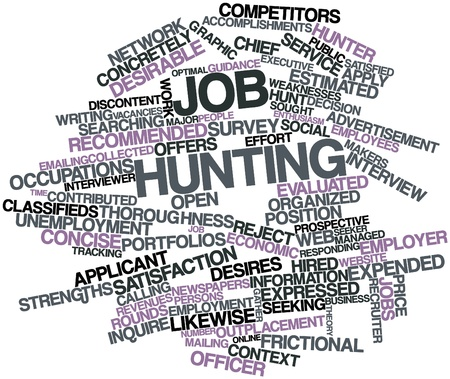 Abstract word cloud for Job hunting with related tags and terms photo