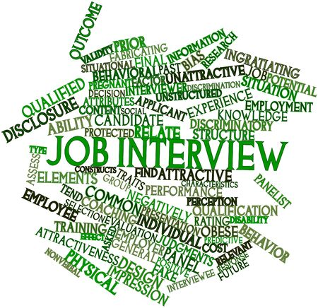 negatively: Abstract word cloud for Job interview with related tags and terms