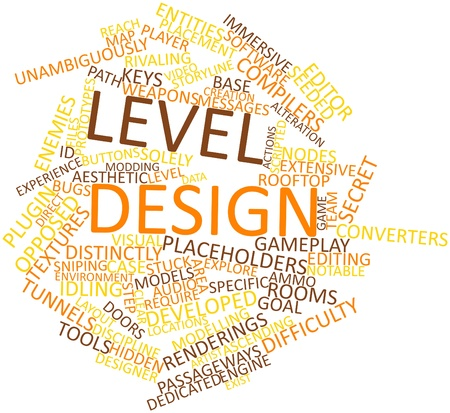 modelling: Abstract word cloud for Level design with related tags and terms