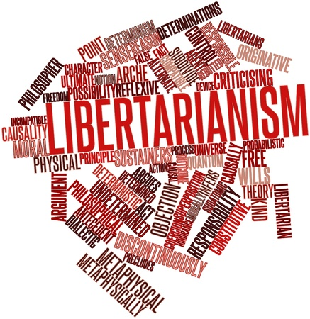deterministic: Abstract word cloud for Libertarianism with related tags and terms Stock Photo
