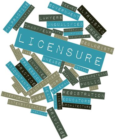 deemed: Abstract word cloud for Licensure with related tags and terms