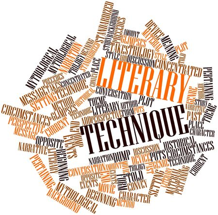 narration: Abstract word cloud for Literary technique with related tags and terms