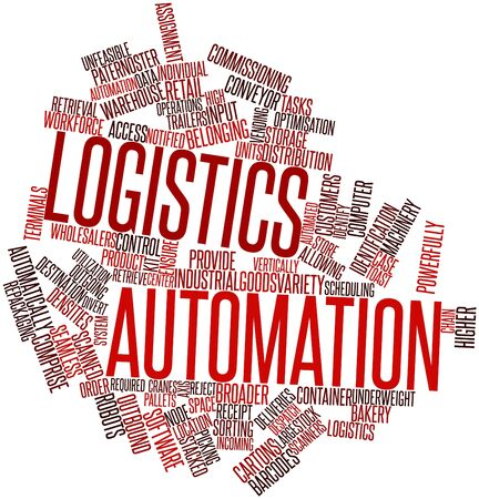 broader: Abstract word cloud for Logistics automation with related tags and terms Stock Photo