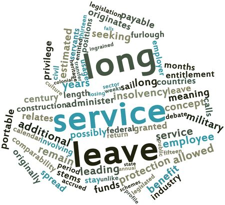 Abstract word cloud for Long service leave with related tags and terms