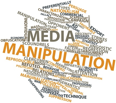 Abstract word cloud for Media manipulation with related tags and terms photo
