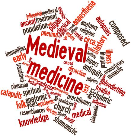 ascribed: Abstract word cloud for Medieval medicine with related tags and terms Stock Photo