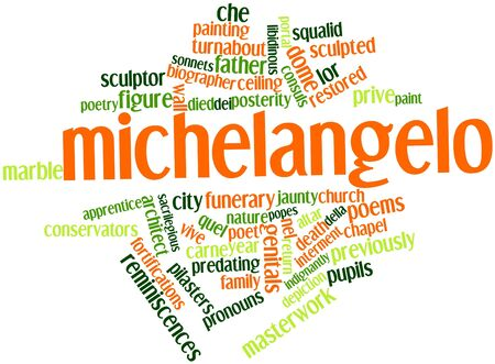 restored: Abstract word cloud for Michelangelo with related tags and terms