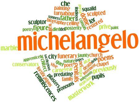 genitali: Word cloud astratto a Michelangelo con tag e termini correlati Archivio Fotografico
