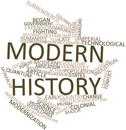 feudal: Abstract word cloud for Modern history with related tags and terms Stock Photo