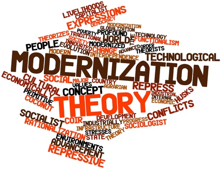 industrially: Abstract word cloud for Modernization theory with related tags and terms