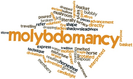 alloys: Abstract word cloud for Molybdomancy with related tags and terms Stock Photo